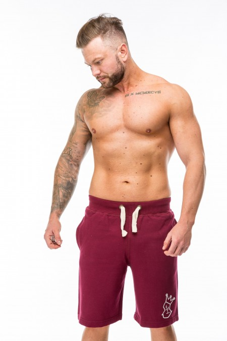 Xeno Shorts - Burgundy with White Embroidery