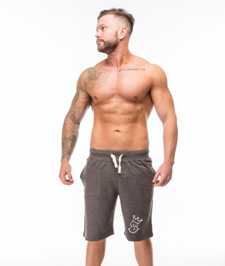 Xeno Shorts - Charcoal with White Embroidery