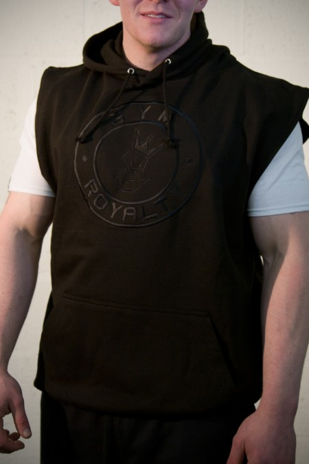 All or Nothing Sleeveless Hoodie - Black with Black Embroidery