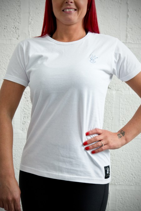 Ladies Royal-Tee T-Shirt - White with Baby Blue Embroidery