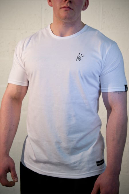 Royal-Tee T-shirt - White with Grey Embroidery