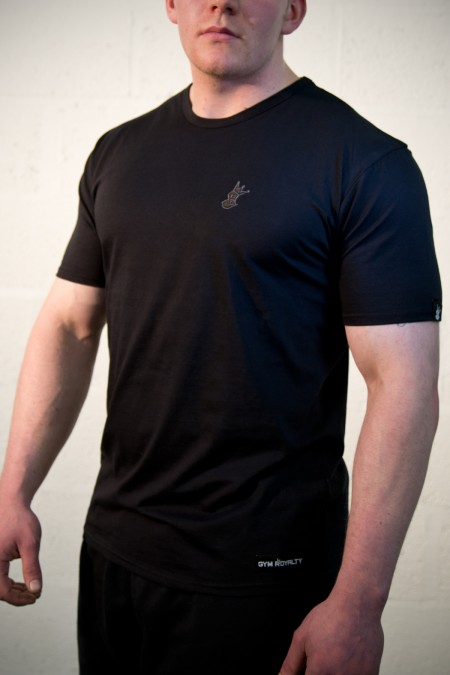 Royal-Tee T-shirt - Black with Grey Embroidery