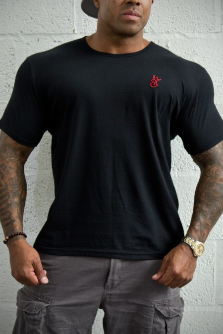 Royal-Tee T-shirt - Black with Red Embroidery
