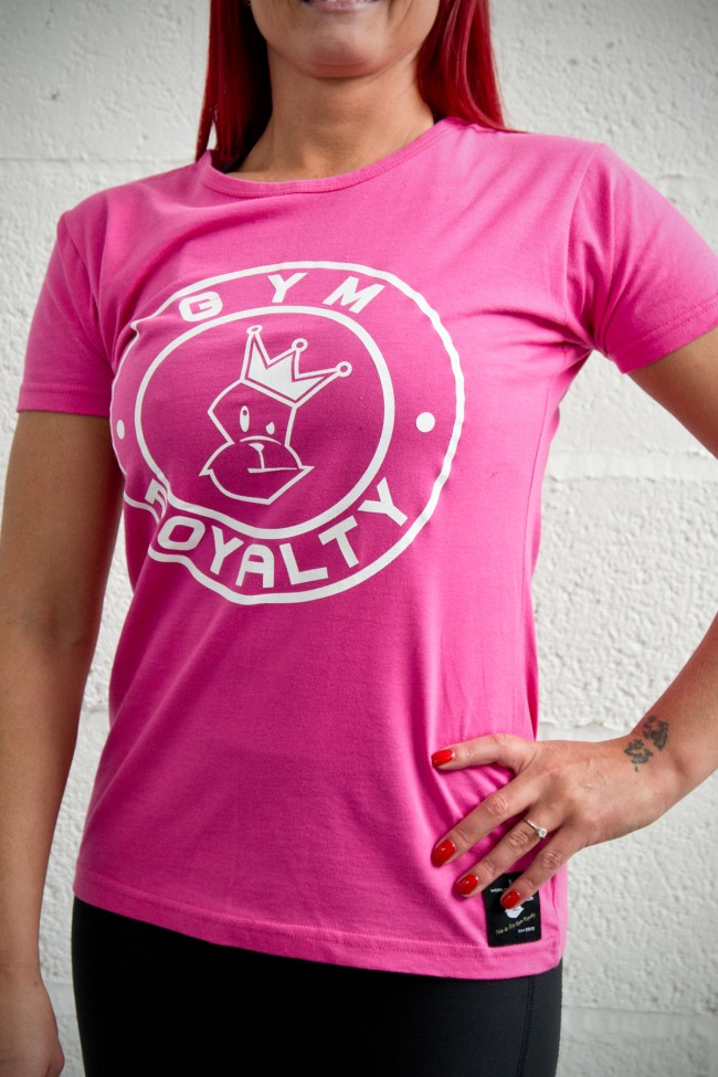 Ladies Loud and Proud T Shirt - Pink with White Print
