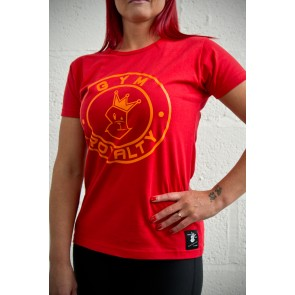 Ladies Loud and Proud T-Shirt - Red with Orange Print