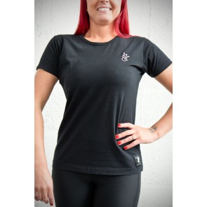 Ladies Royal-Tee T-Shirt - Black with Pink Embroidery